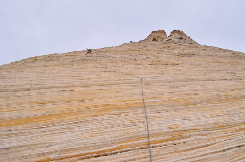 Me leading one of the pitches.  The bolts are run out but the climbing is really easy.