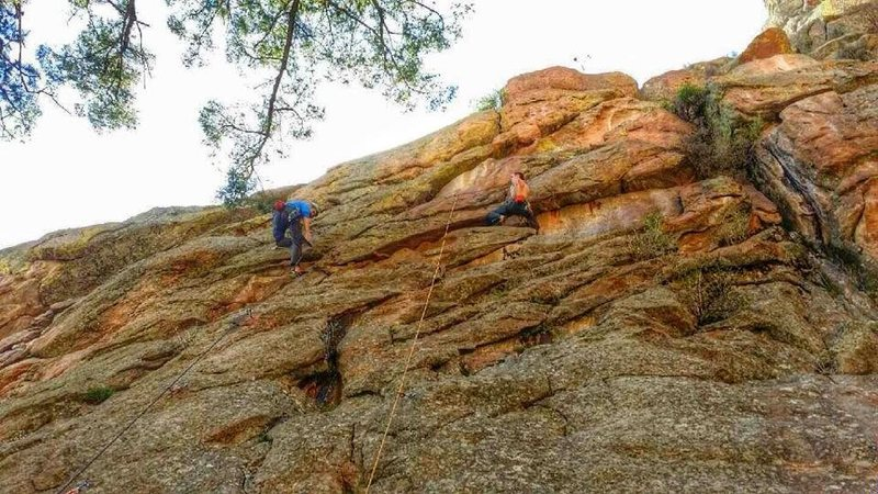 """A """"short"""" hike to The Arena. Hitting Pax (left), and Juno (right). <br> <br> Juno's crux comes just above where the right climber is currently resting."""