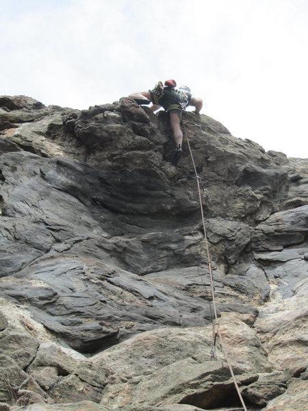Rock Climbing Photo: Paul surmounting the final bulge.