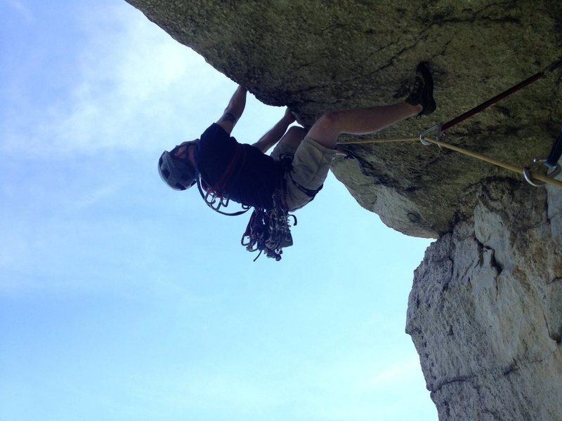 At the Pitch 3 crux of Erect Direction in the Gunks. Got the P2 and P3 red point 06-28-2014
