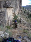 Rock Climbing Photo: David standing next to the tree where the natural ...