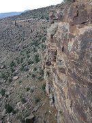 Rock Climbing Photo: View from top of climb to the north along cliff li...