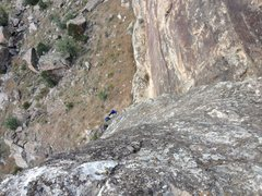 Rock Climbing Photo: The view from top looking down along bolt line tha...