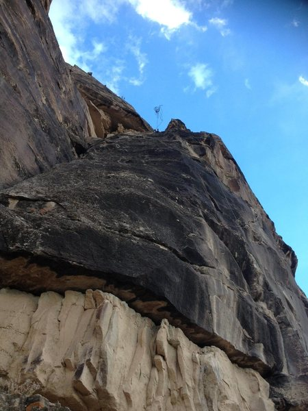 Rock Climbing Photo: The view from the bottom as a rope is thrown for r...