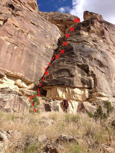 A full view of route from below.  Gain access to the ledge where the first bolt is after the bulge.  The first bolt is visible from the ground.
