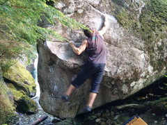 Rock Climbing Photo: Big move to sloper