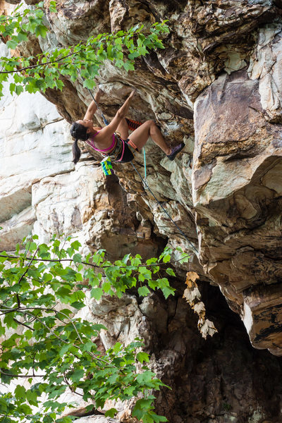 H. Nguyen, about to enter the brief crux section