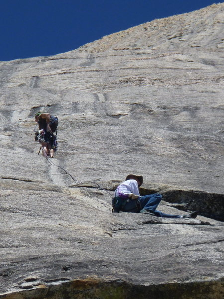Unknown climbers on P2 of Afternoon Nap.  The highly-featured fourth and fifth pitches can be seen above them.