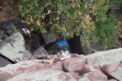 "Rock Climbing Photo: James arrives at the traverse on ""Brinton's&q..."
