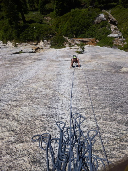 Rock Climbing Photo: Cam follows Young Guns.  The small pine tree that ...