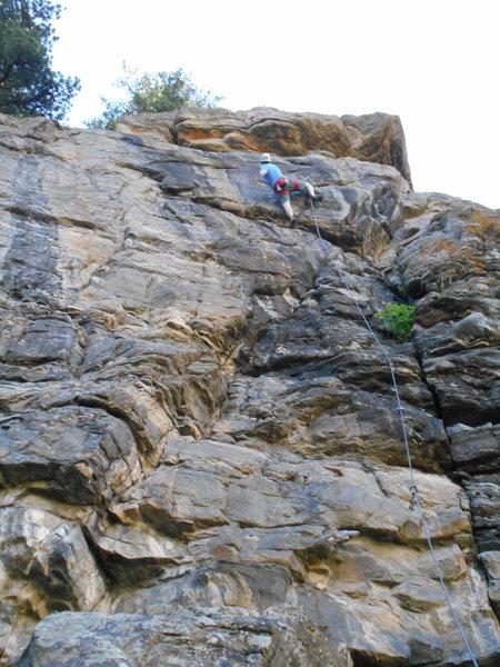 Rock Climbing Photo: Heading toward the crux on Psycho Hose Beast.