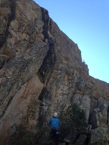 Rock Climbing Photo: Anna leading Jerk Whisperer. Rope to the left show...
