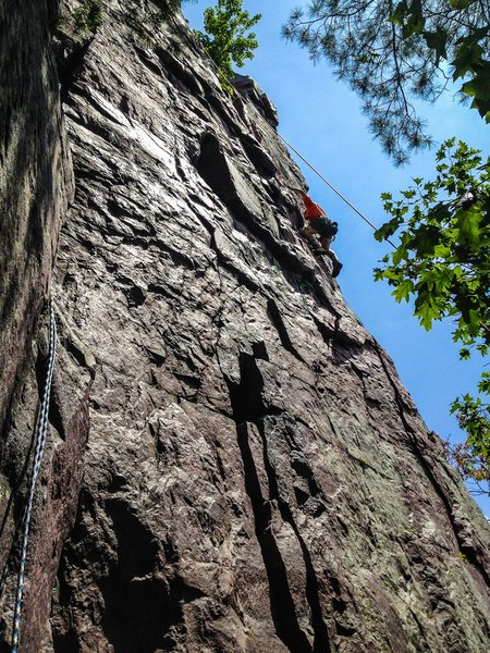 Our rope leader Chris climbing this in his bulky hiking boots! He's alpine training and killing tough routes without the aid of appropriate climbing shoes!