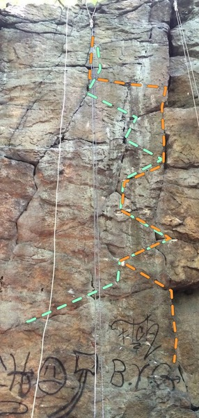 Rock Climbing Photo: Faces of Nature's Spirit starts left of the rope, ...
