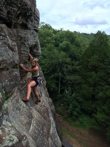 Molly Gabel climbing ever nearer to the second belay station