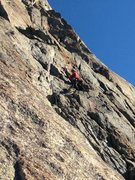 Rock Climbing Photo: the crux 5.8 section of the first pitch