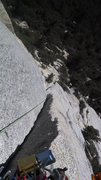 Rock Climbing Photo: Looking down where the angle lessens and the hand ...