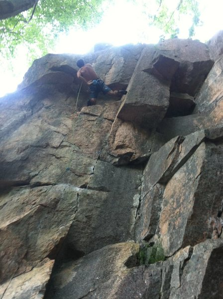 Rock Climbing Photo: Henry on the crux moves