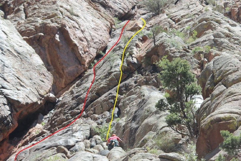 Rock Climbing Photo: Second pitches: Red - Scanners. Yellow - Dreamscap...