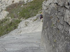Rock Climbing Photo: Brandon following the steep East Corner Arete.