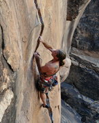 Rock Climbing Photo: Tough off fingers section and finger popping crux ...