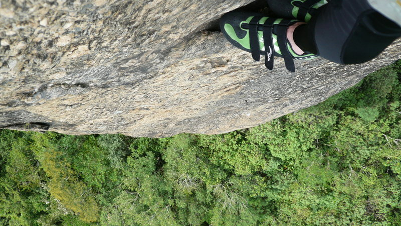 Rock Climbing Photo: Looking down. Always a nice rest spot on this rout...