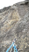 Rock Climbing Photo: 1st pitch anchor. Must trust it.