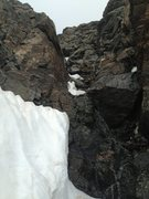Rock Climbing Photo: Late June melted out NE couloir of Ypsilon.