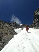 Rock Climbing Photo: Mark near the top third of NE couloir.