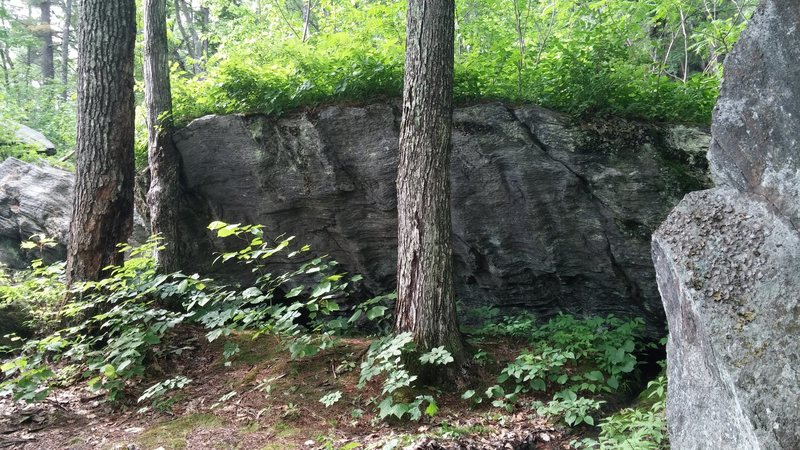 The one right along the trail. It has an unfortunate moat guarding this side. The opposite side has some good moderates