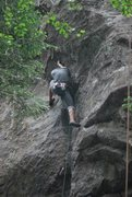 Rock Climbing Photo: Moving out of the dihedral