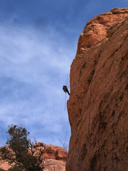 "Climber with 25 ft ""clip stick"" mass production wall, Red Rocks"