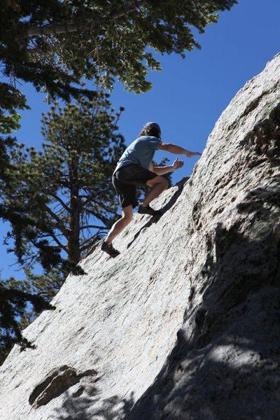 The precarious walk up the slab.