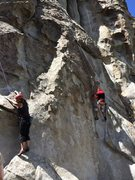 Rock Climbing Photo: Joanne and George Urioste racing up competing rout...