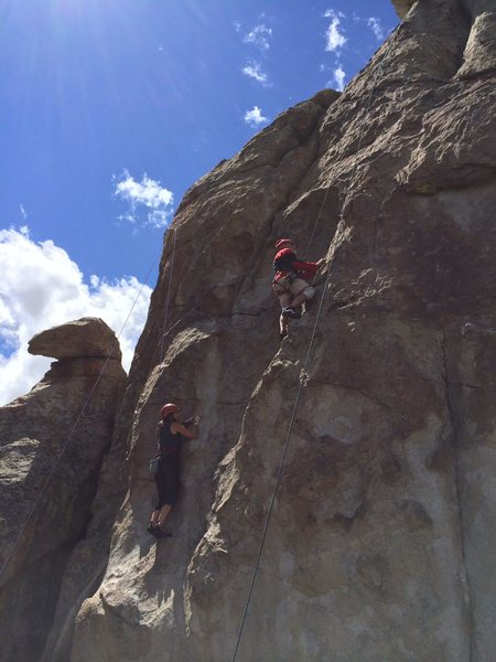 Joanne Urioste on a 5.10 and George Urioste on a 5.9.  Wedding Wall, Poultry Pillar, Castle Rocks, Idaho  June 28th, 2014
