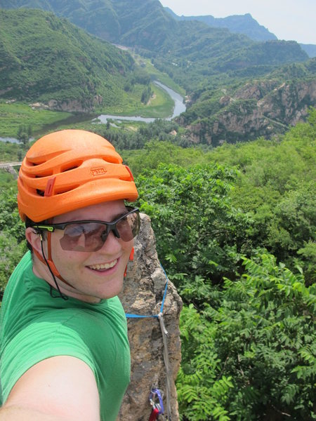 Topping out at Secret Garden crag, Baihe, Beijing, China