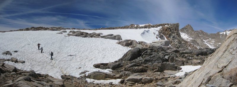 Nearing the crest of Bishop Pass coming from South Lake - June 2014.