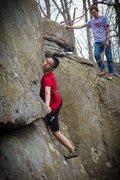 Rock Climbing Photo: Lionel mantling