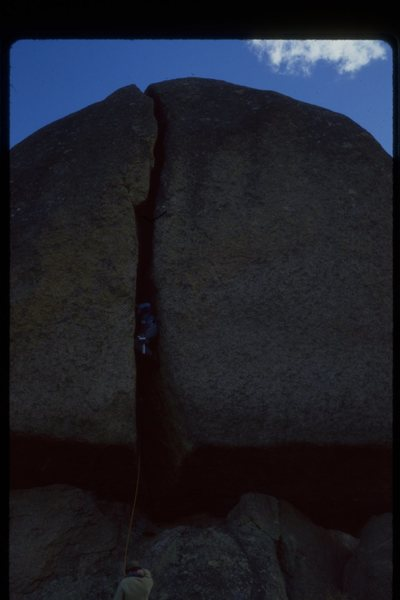Steve Sarns belaying George Bracksieck on If Sheep Had Heels and Toes, 10/10/81.