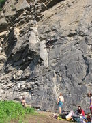 Rock Climbing Photo: Qiliang, to the upper left, almost at the top of t...