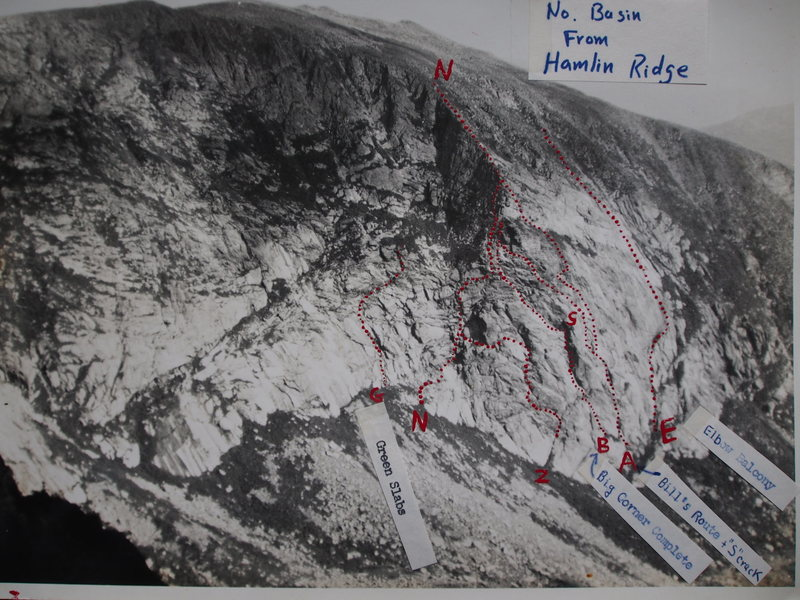 """North Basin Mt Katahdin from Hamlin Ridge.  """"N"""" is APPROXIMATE line of NorthBasin Headwall Route (1946); """"Z"""" is an Alt. Start, the ZigZag Letdown Route (circa 1971)."""