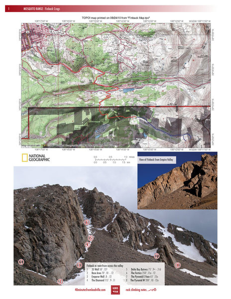 Topo map for driving and overview of crags.