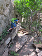 Rock Climbing Photo: Arriving to the crag area, follow the wall on the ...