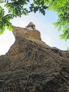 Rock Climbing Photo: Karel setting up anchor up top