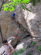 Rock Climbing Photo: Qi Liang starting up