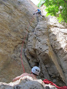 Rock Climbing Photo: Qi Liang almost there!