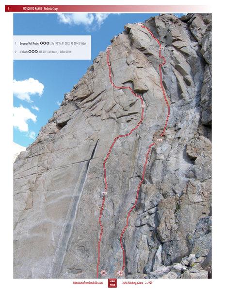 Rock Climbing Photo: Emperor Wall and Finback topo.