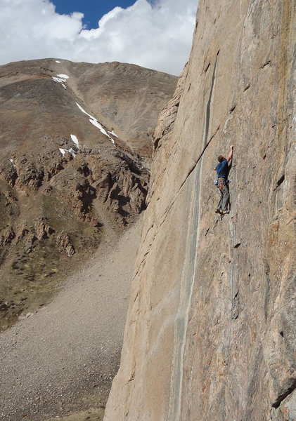 Rock Climbing Photo: Justin Talbot on pitch one of the Emperor Wall.