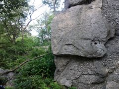 Rock Climbing Photo: The approach trail is just left of the rock. The s...