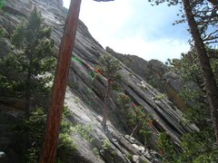 Rock Climbing Photo: Guidebooks suggest starting Zingando at green mark...